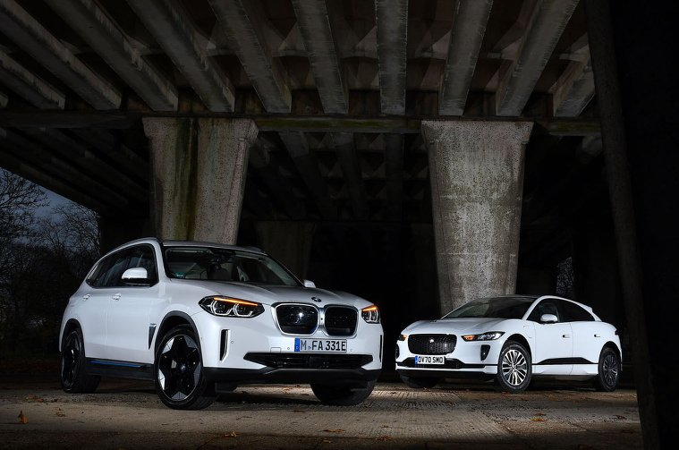 BMW iX3 and Jaguar I-Pace fronts
