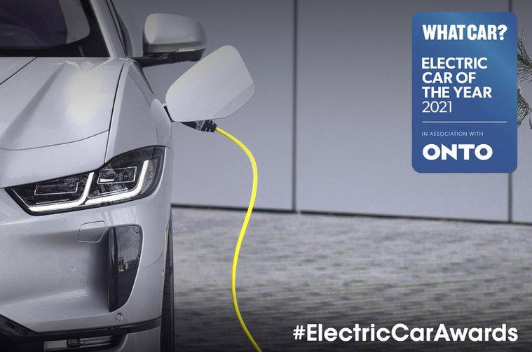 Jaguar I-Pace charging with Electric Car Awards 2021 logo