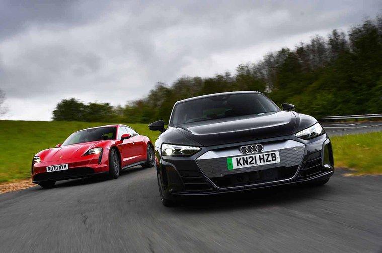 Audi E-tron GT vs Porsche Taycan fronts
