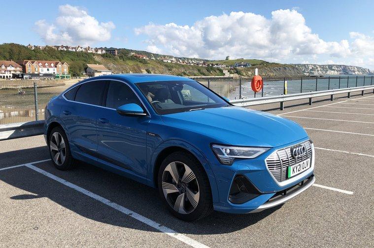 LT Audi E-tron Sportback by sea in Folkestone