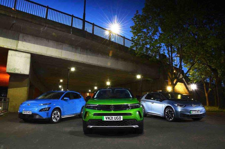 New Vauxhall Mokka-e and Hyundai Kona Electric vs Volkswagen ID.3 fronts