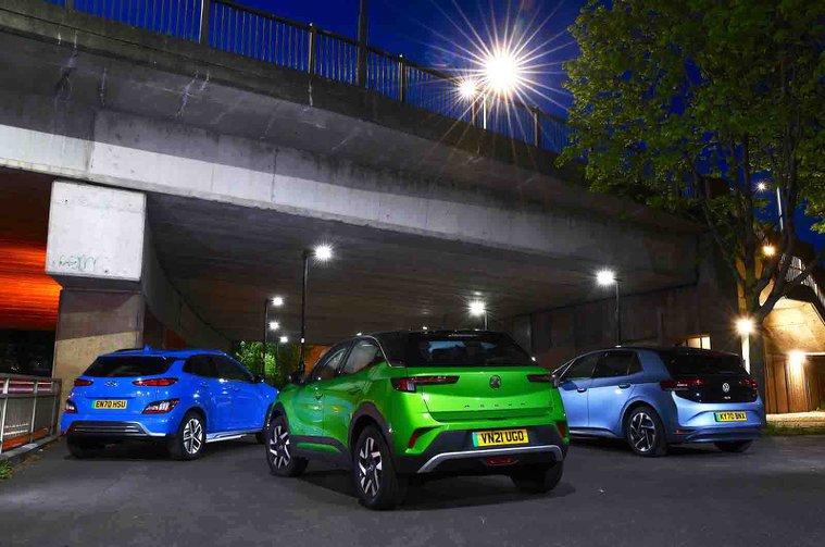 New Vauxhall Mokka-e and Hyundai Kona Electric vs Volkswagen ID.3 rears