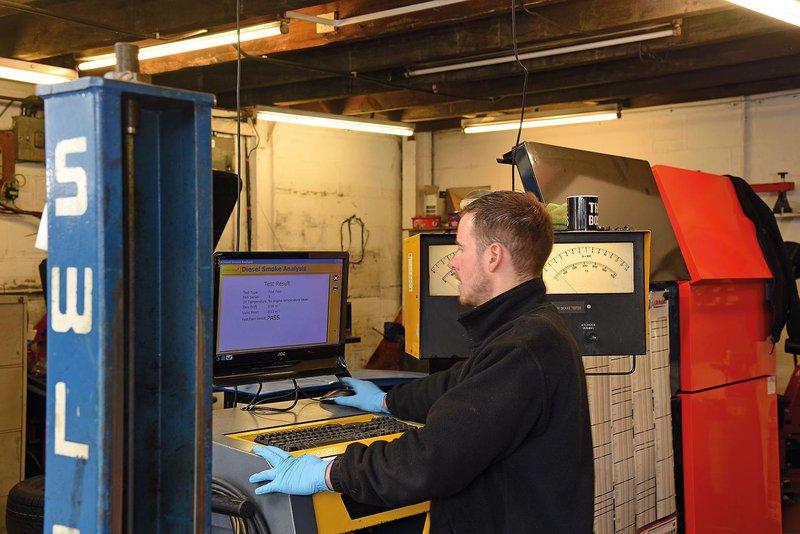 MOT tester using diagnostic equipment
