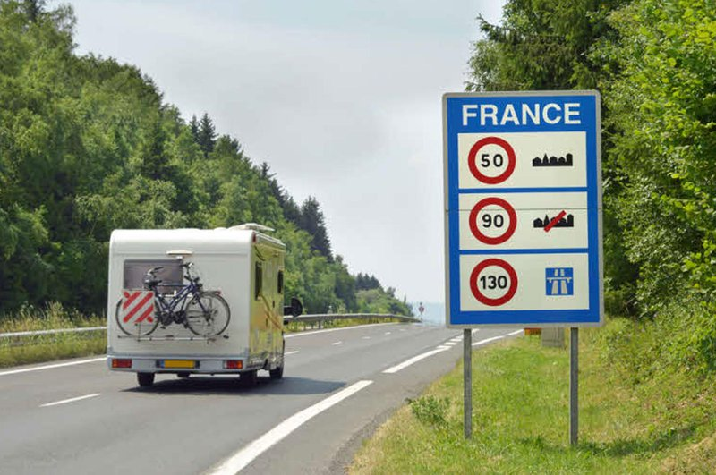 Caravan on a French road