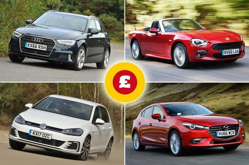 Audi A3, Fiat 124 Spider, Volkswagen Golf GTE, Mazda 3