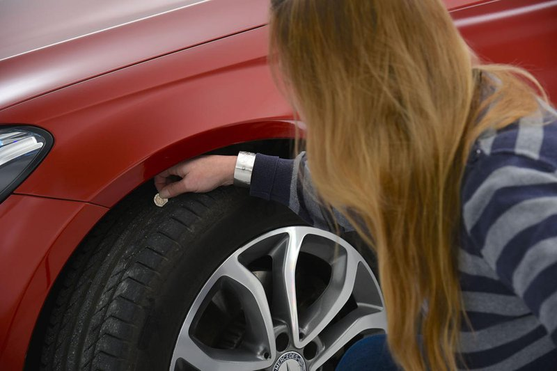 Checking tyre tread depth