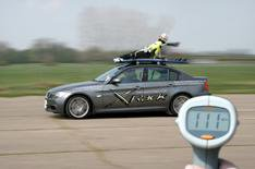 Granny does 111mph - on a roof rack!