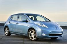 All-electric Nissan Leaf driven