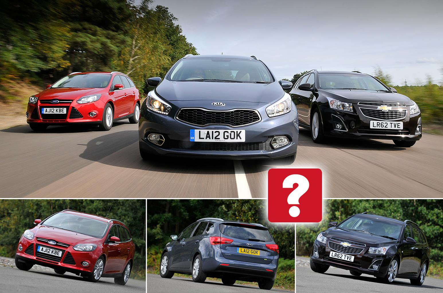 Used Ford Focus Estate vs Kia Cee'd SW vs Chevrolet Cruze SW