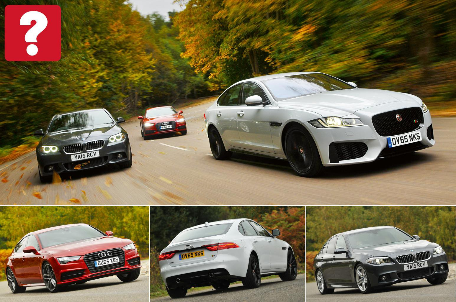 New Jaguar XF vs Audi A7 Sportback vs BMW 5 Series