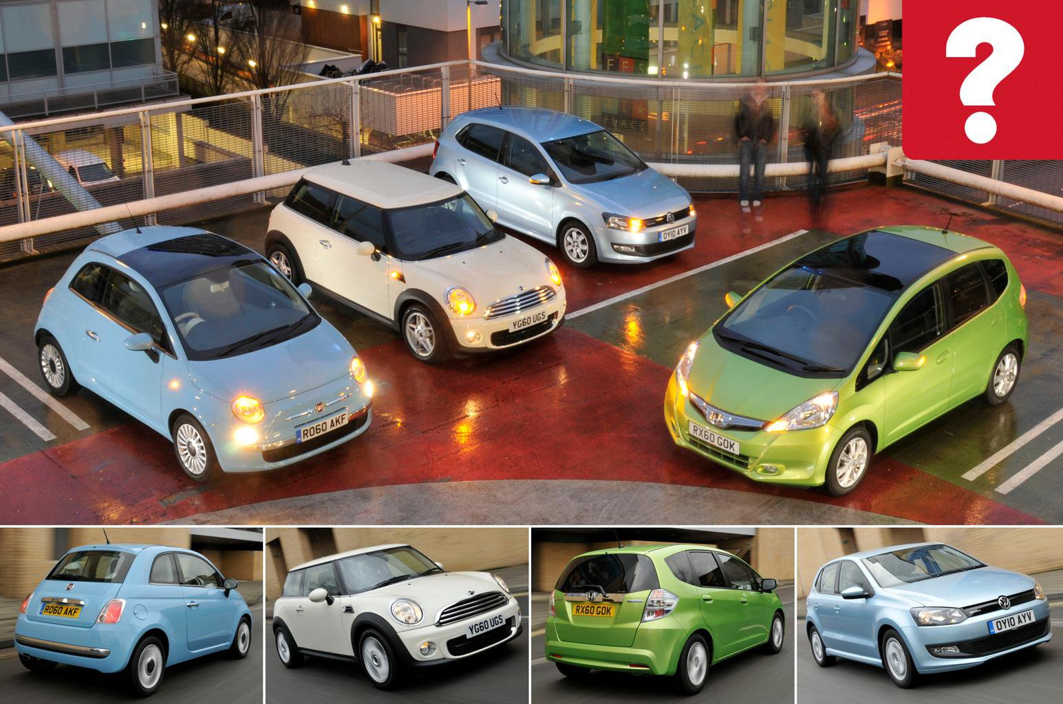 Used Fiat 500 vs Honda Jazz vs Mini One vs Volkswagen Polo