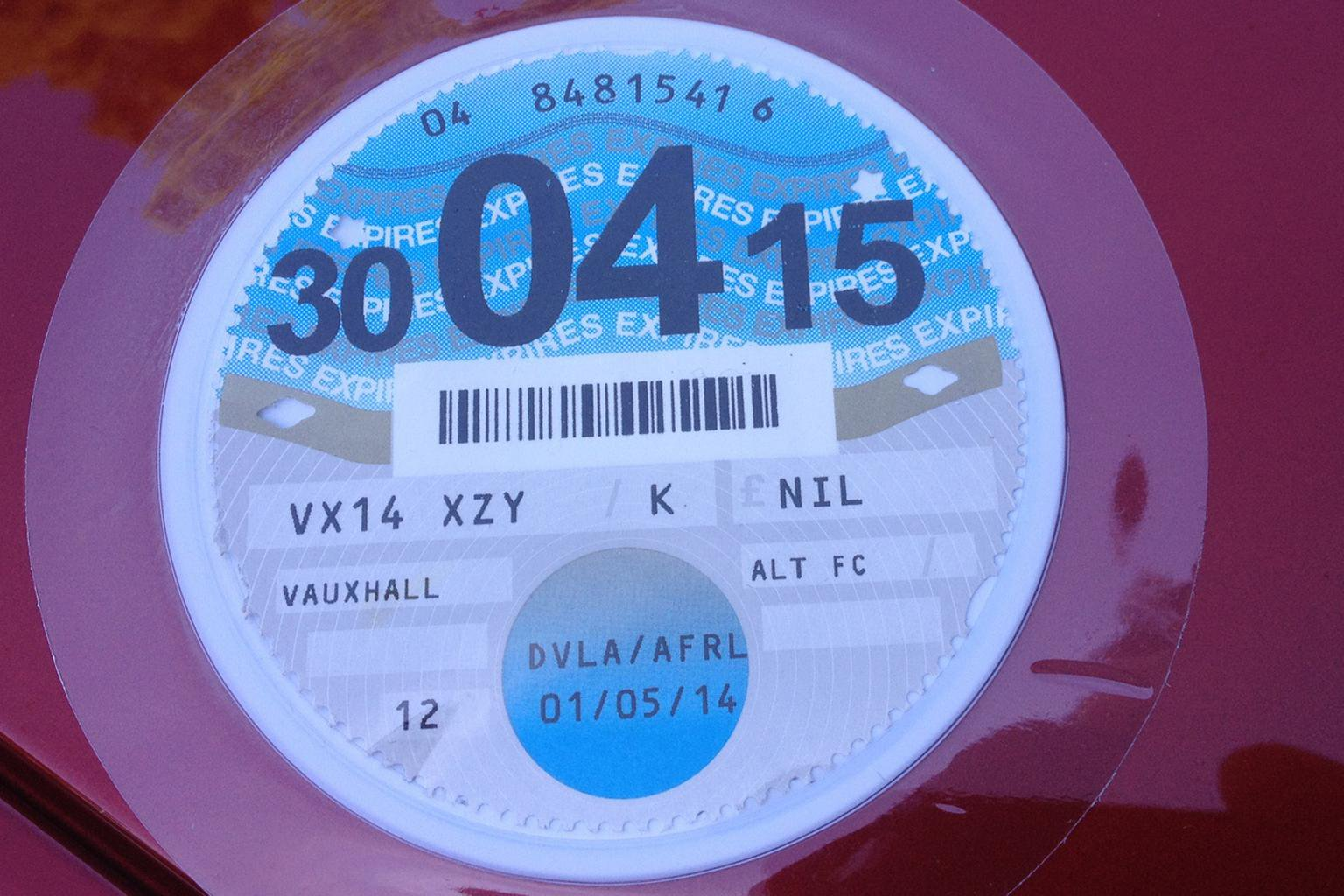 Road tax rates for 2014-2015