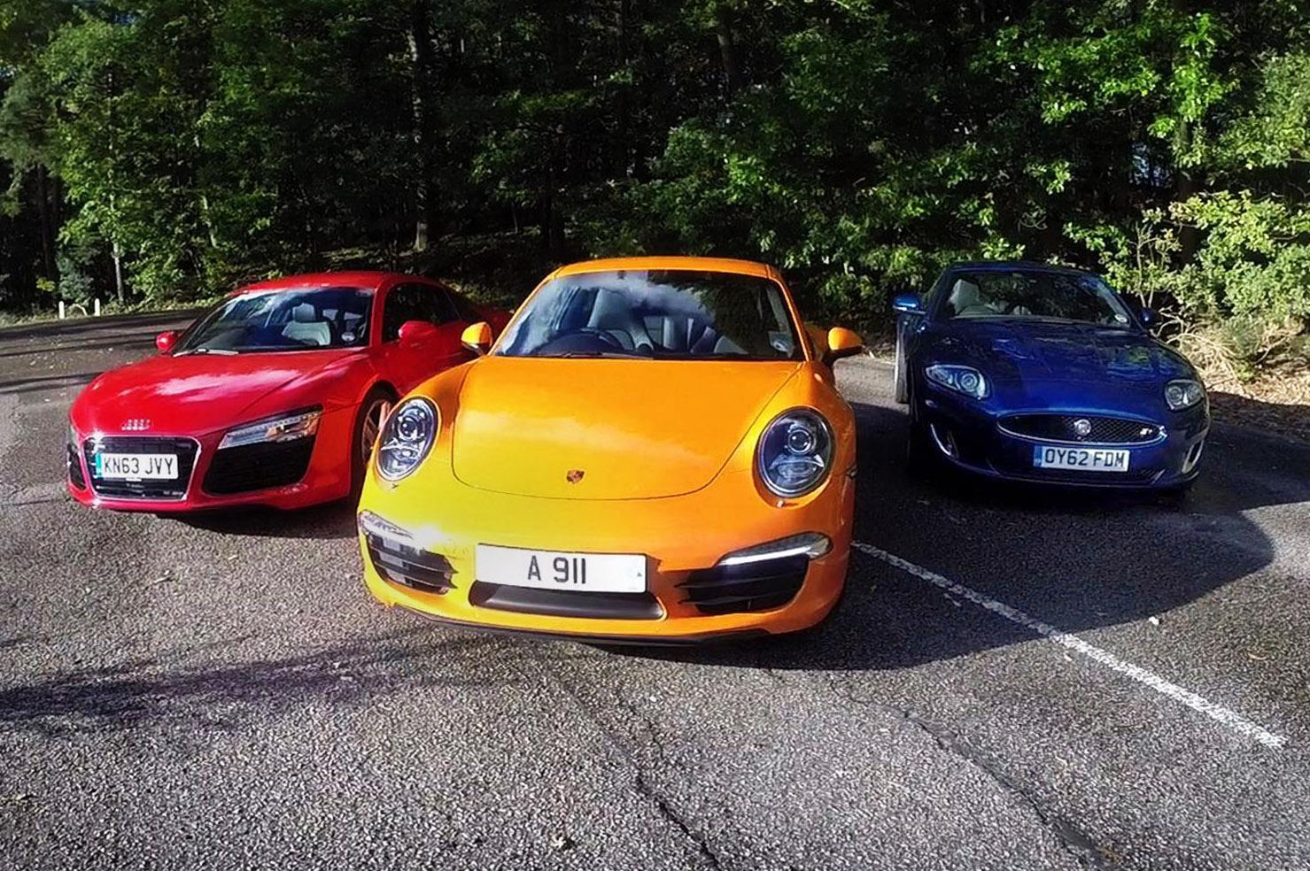 Everyday supercar test: Porsche 911 vs Audi R8 vs Jaguar XKR