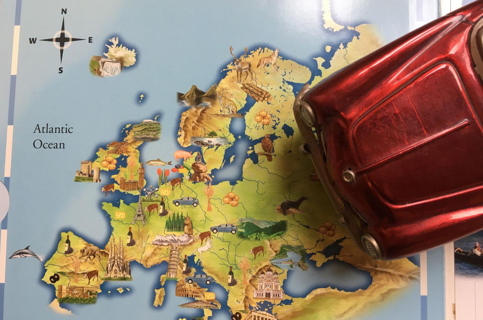 Toy car on Europe map