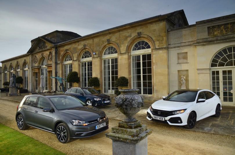 Honda Civic, Volkswagen Golf and Audi A3 Sportback