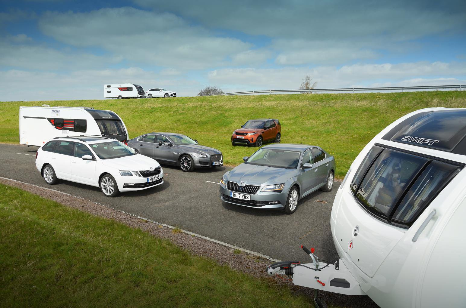 Cars with caravans