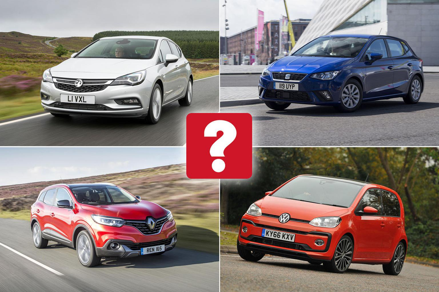 Vauxhall Astra, Renault Kadjar, Seat Ibiza and VW Up