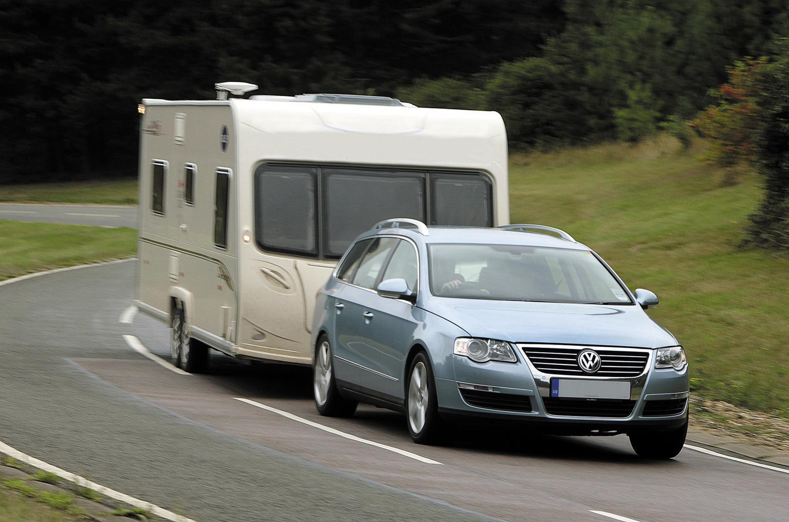 Volkswagen Passat pulling caravan