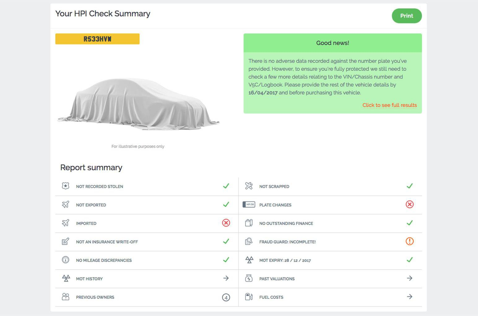 Get a Car Data check
