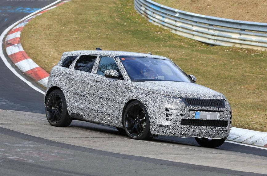 2019 Range Rover Evoque prototype testing on track