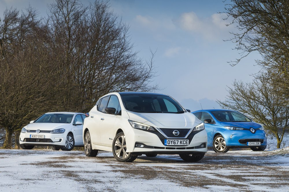 Nissan Leaf, Volkswagen e-Golf and Renault Zoe