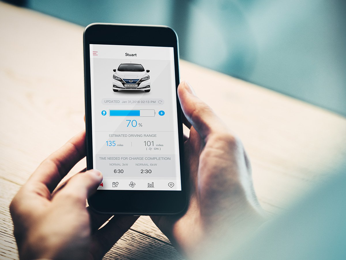 The NissanConnect EV app lets you interact remotely with the 100% electric new Nissan LEAF