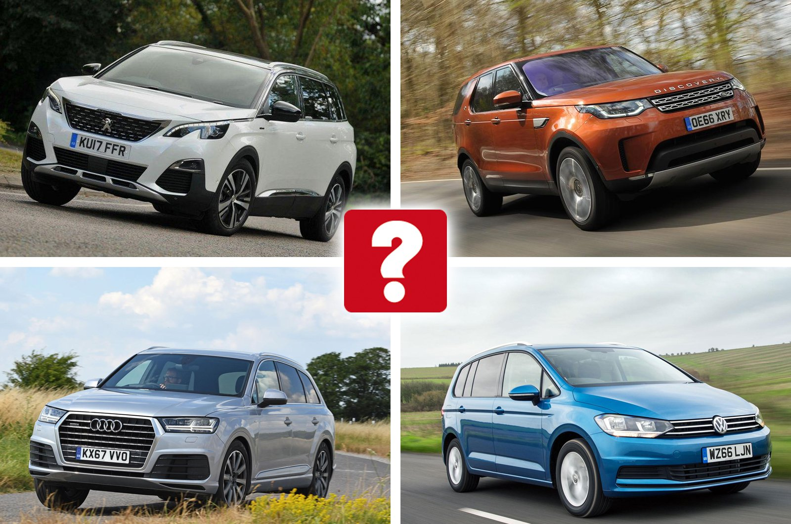 Peugeot 5008, Land Rover Discovery, Audi Q7, Volkswagen Touran