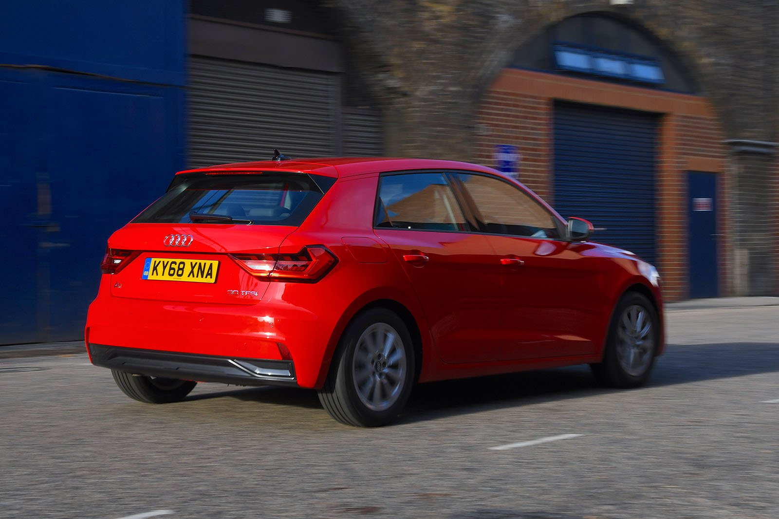 Audi A1 Sportback rear three-quarters driving 2