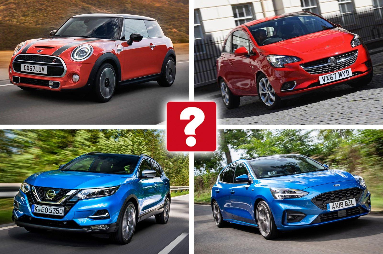 Mini hatchback, Vauxhall Corsa, Nissan Qashqai, Ford Focus