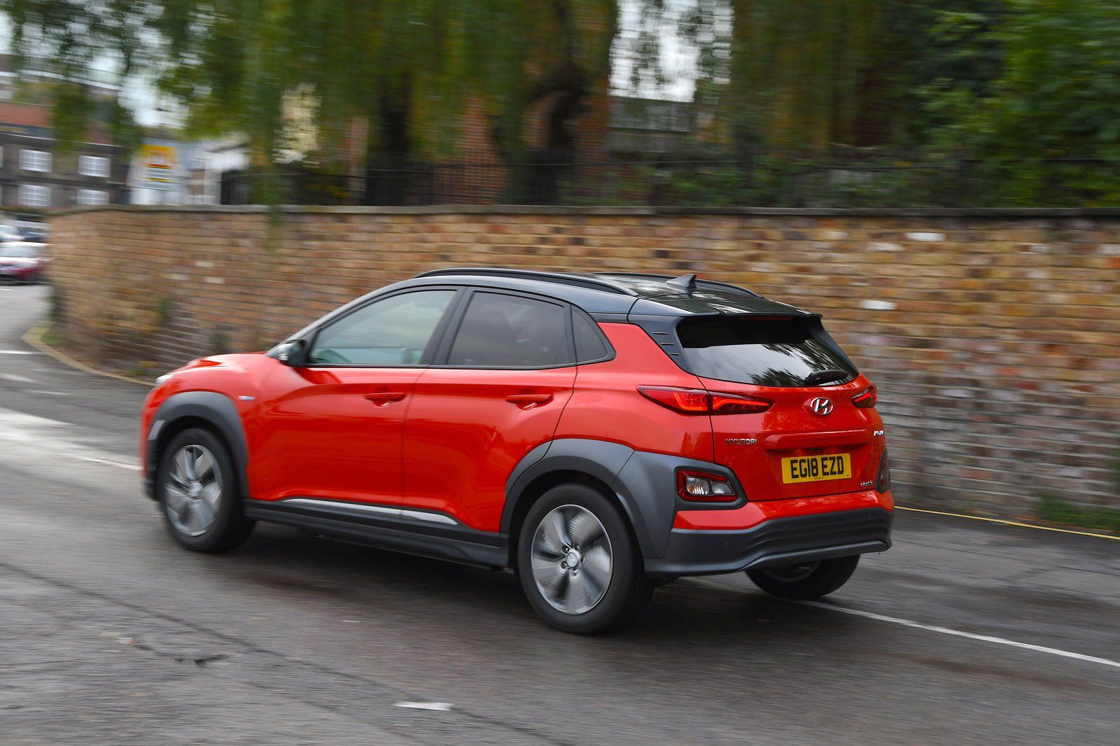 Hyundai Kona Electric behind