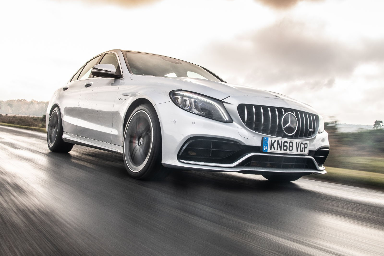 Mercedes-AMG C63 Saloon front three-quarter driving