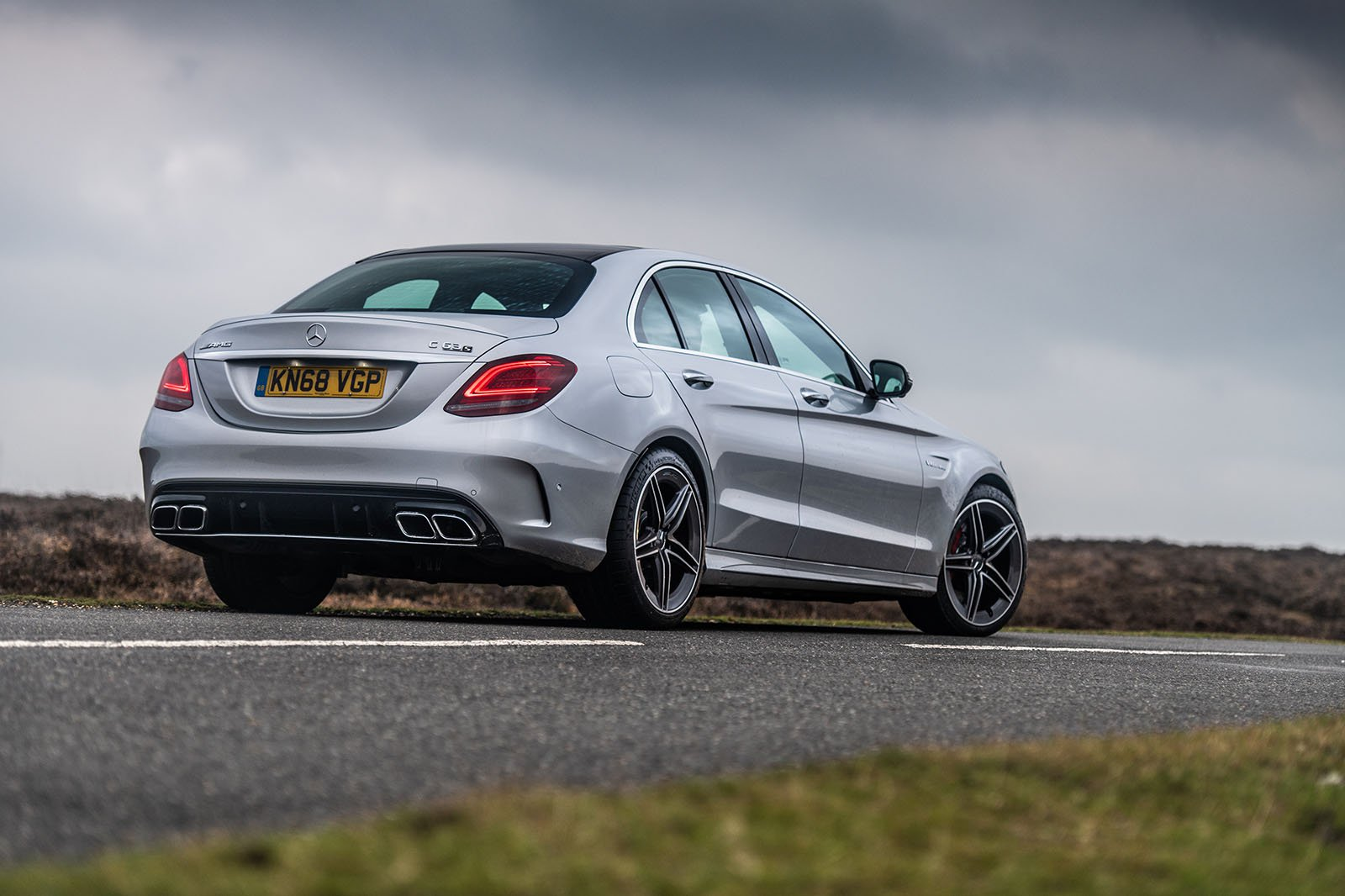 Mercedes-AMG C63 Saloon rear three-quarter driving 2