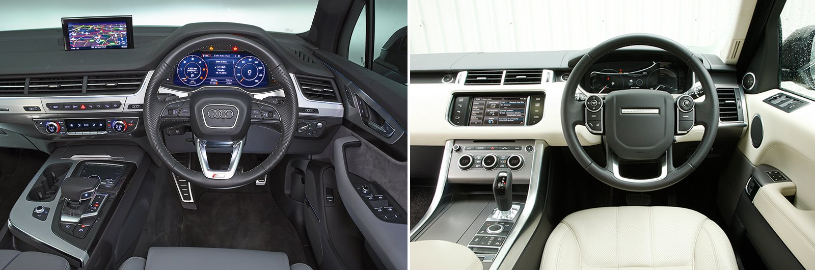 New Audi Q7 vs used Range Rover Sport – interior & equipment
