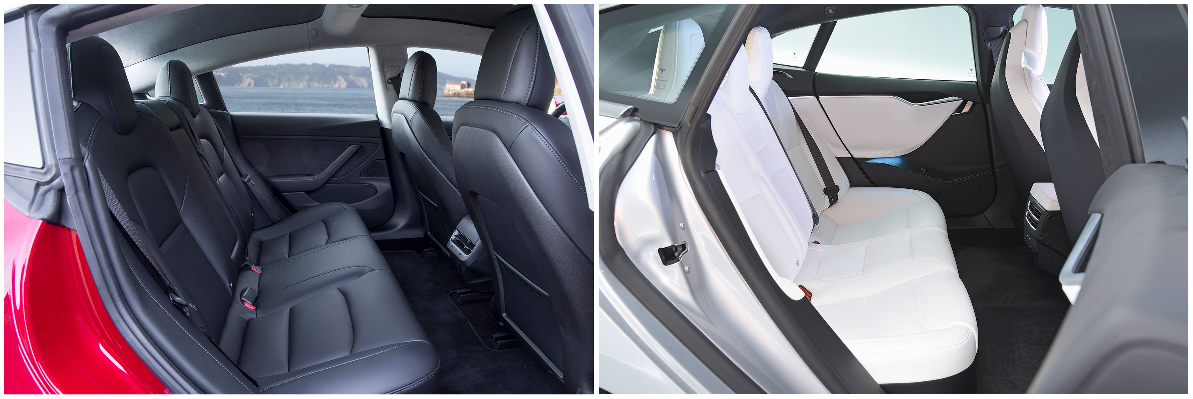 Tesla Model 3 and Tesla Model S rear seats