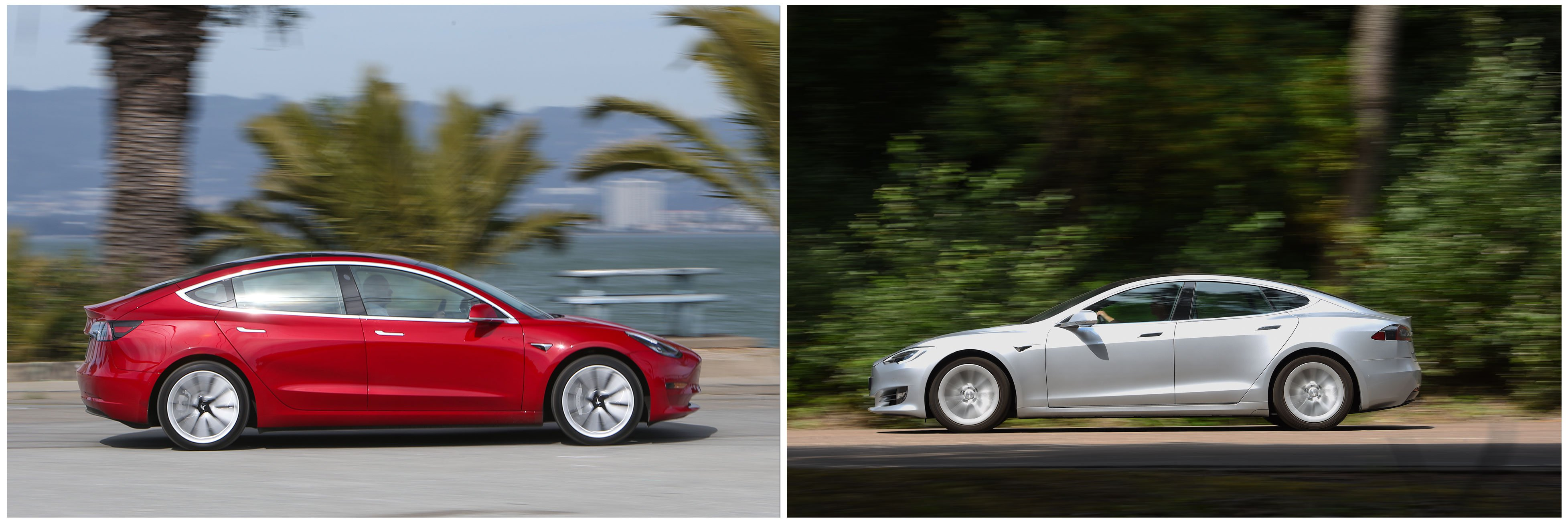 Tesla Model 3 and Tesla Model S side