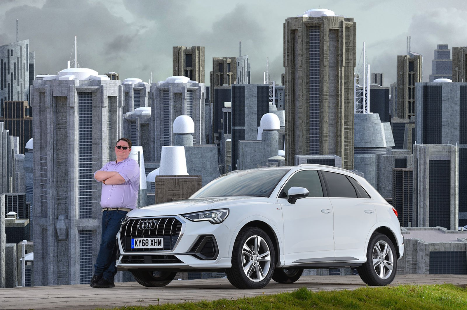 Audi Q3 on dystopian city background