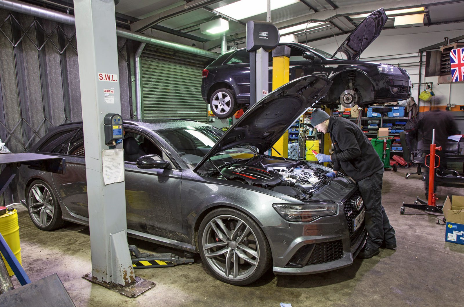 Car being serviced