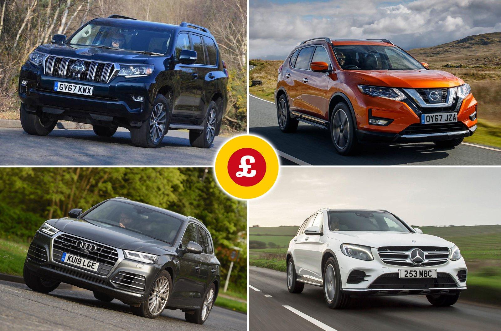 Toyota Land Cruiser, Nissan X-Trail, Audi Q5, Mercedes GLC