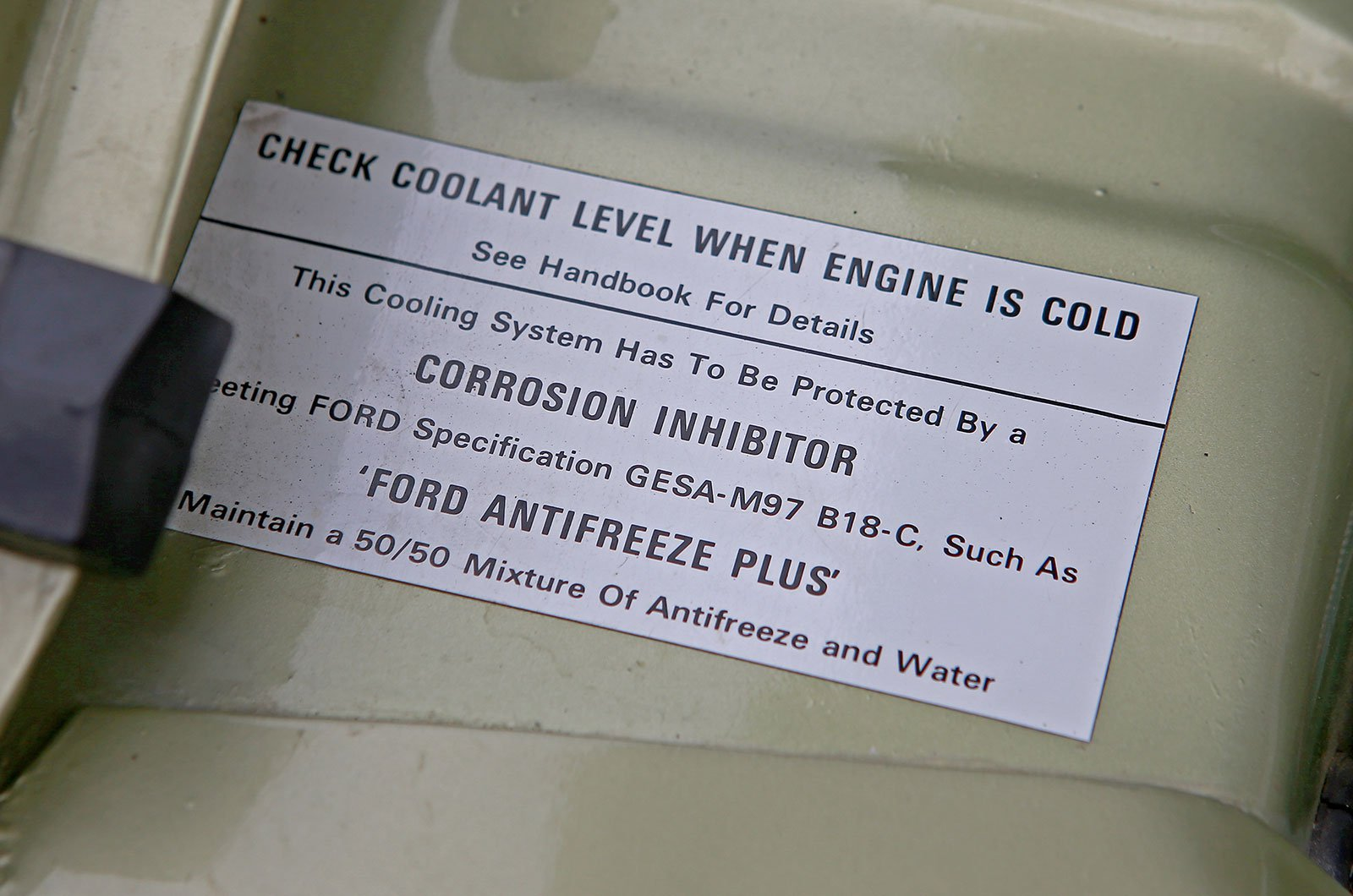 Coolant label