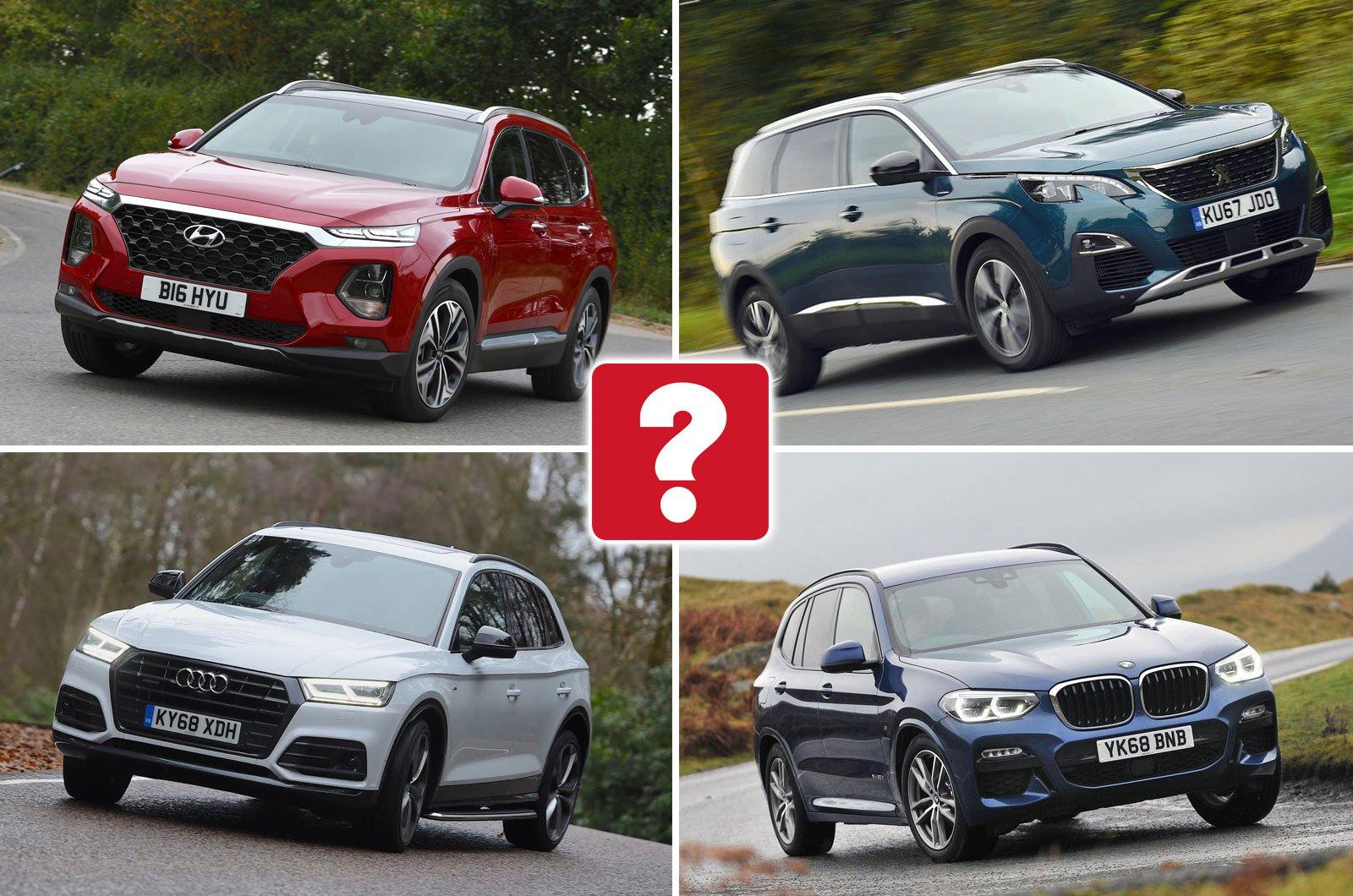 Hyundai Santa Fe, Peugeot 5008, BMW X3, Audi Q5