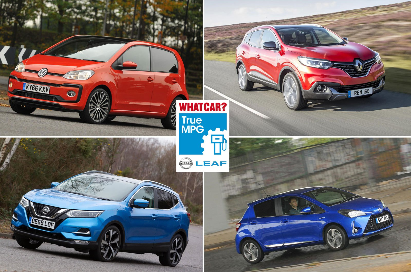 Volkswagen Up, Renault Kadjar, Nissan Qashqai, Toyota Yaris