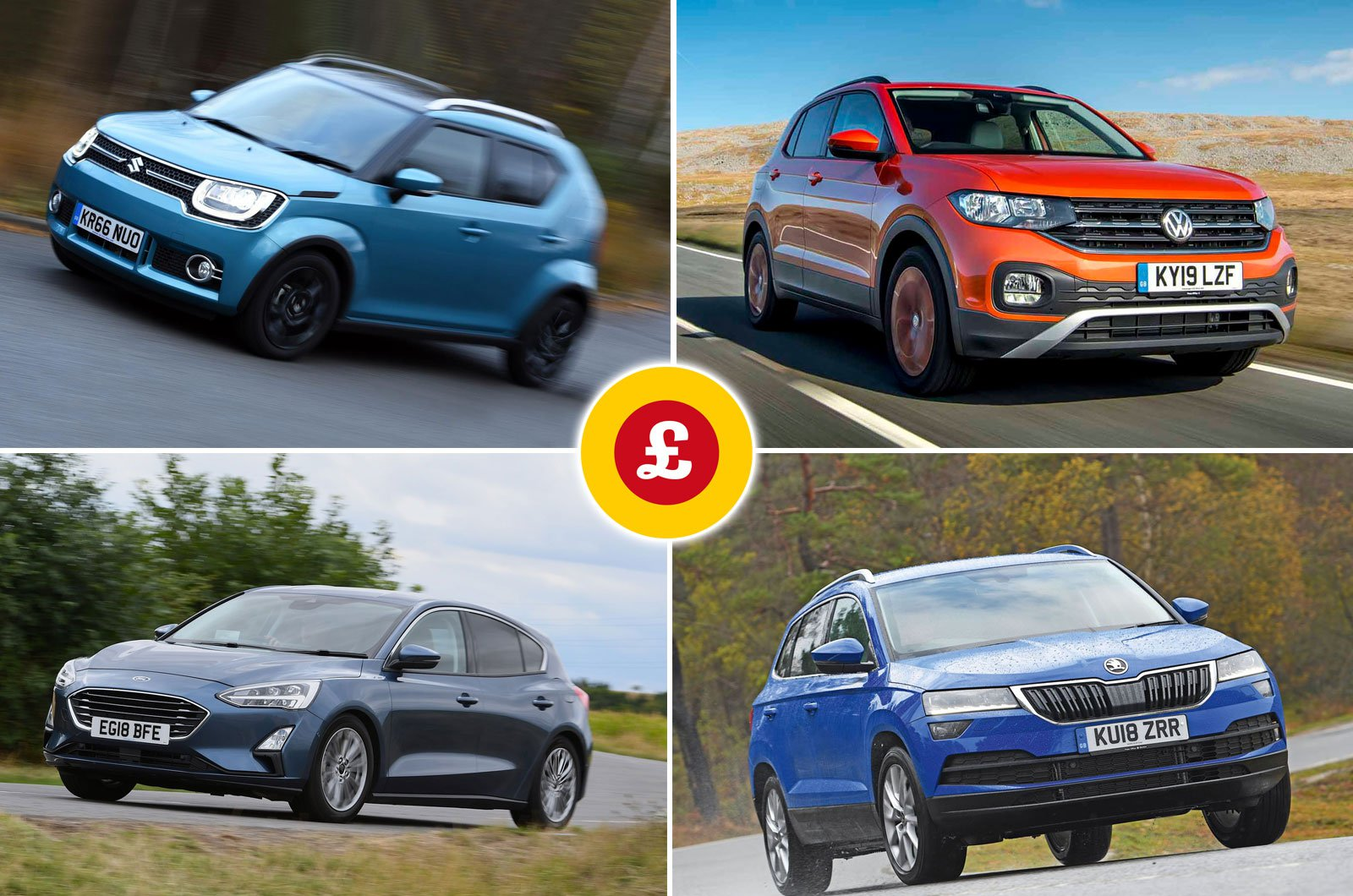Suzuki Ignis, Volkswagen T-Cross, Ford Focus, Skoda Karoq