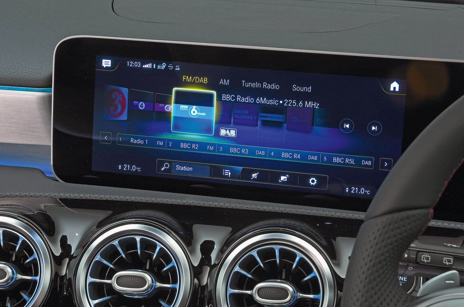 Mercedes A-Class infotainment screen