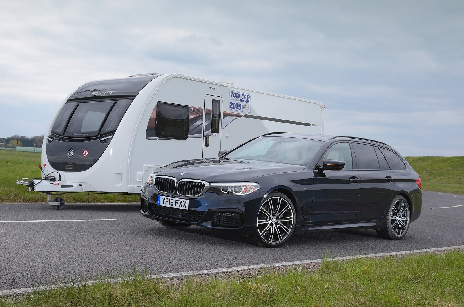 BMW 5 Series Touring with caravan