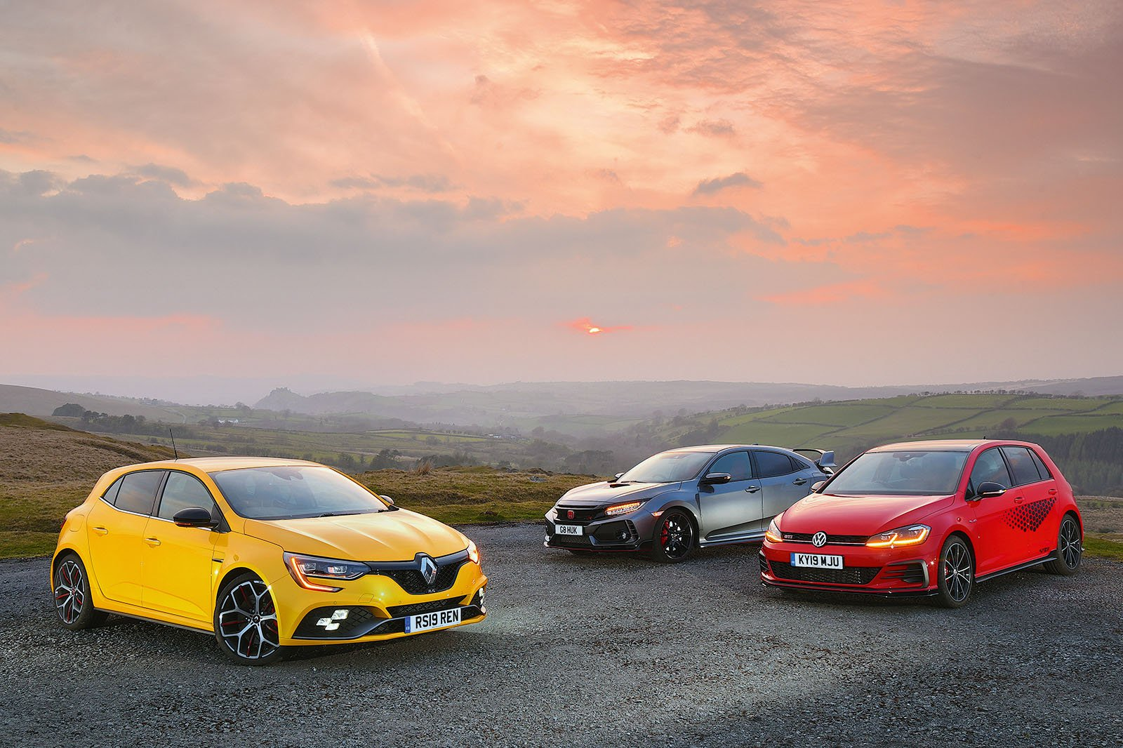 New Renault Megane RS & Volkswagen Golf GTI vs Honda Civic Type R