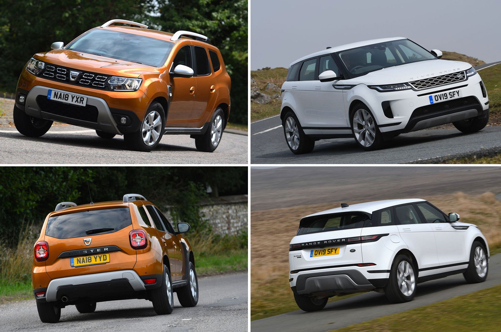 Range Rover Evoque and Dacia Duster