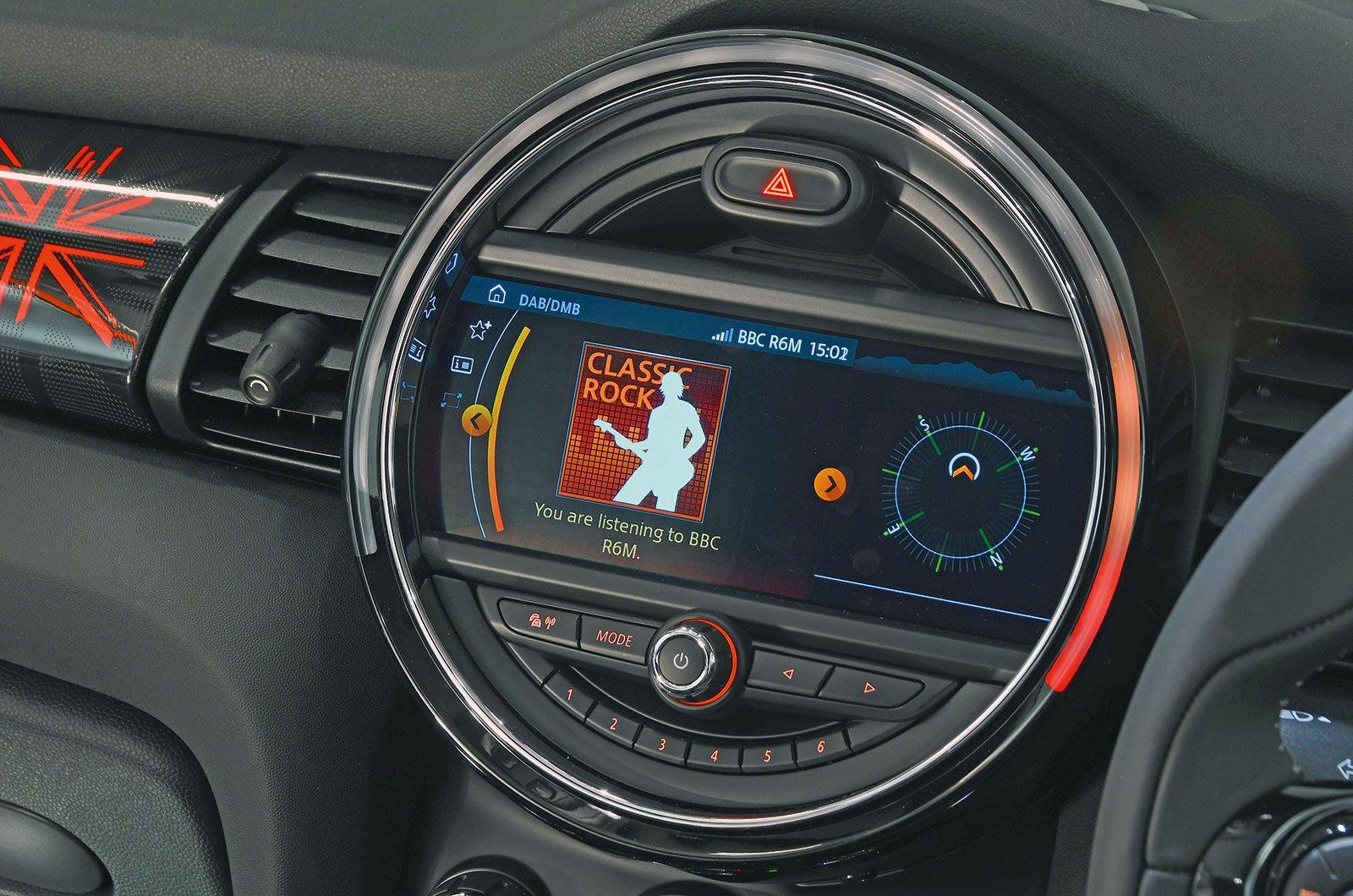 Mini hatchback infotainment screen