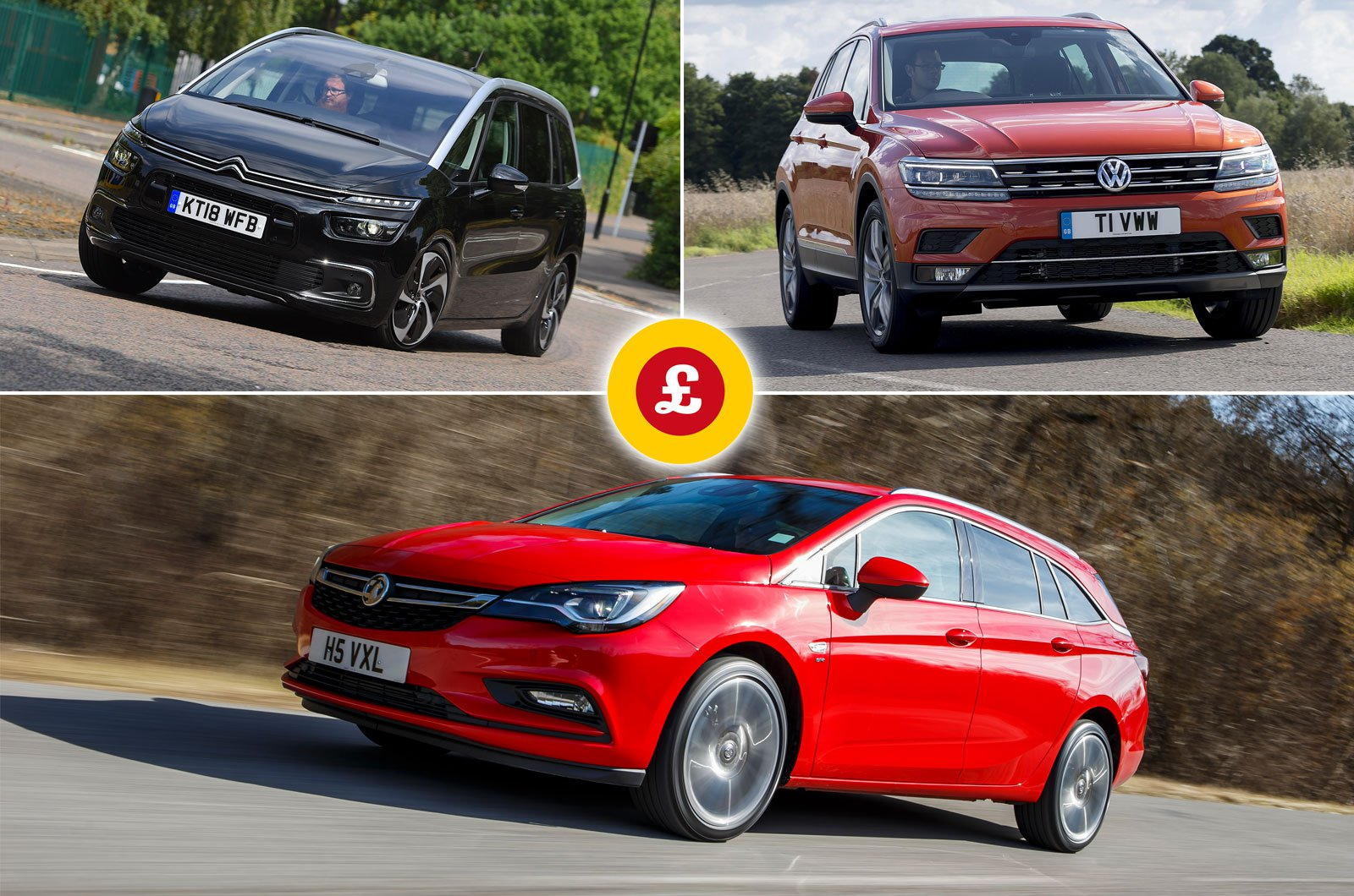 Citroën Grand C4 Spacetourer, Volkswagen Tiguan, Vauxhall Astra Sports Tourer