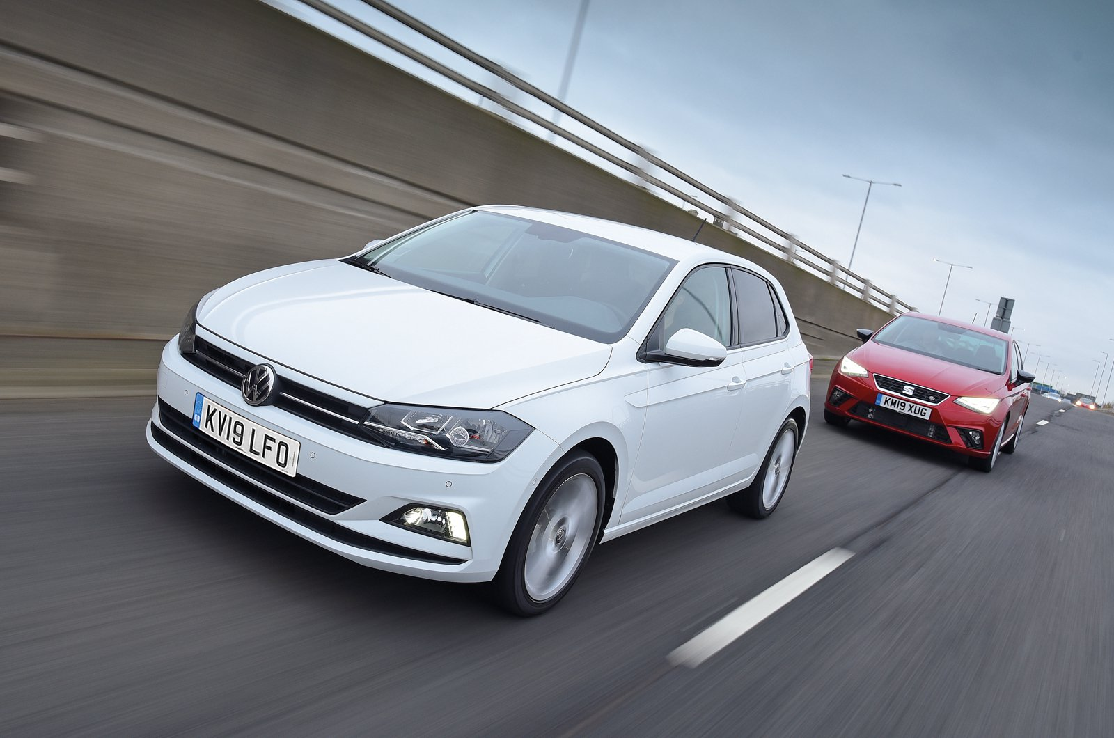 Volkswagen Polo leading Seat Ibiza - 19-plate cars
