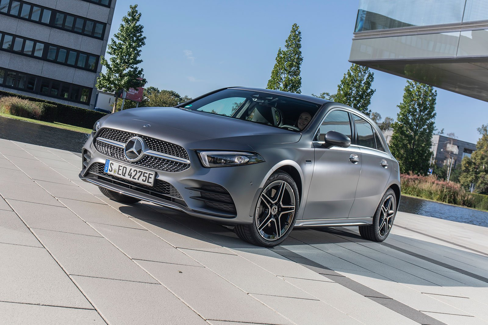 2019 mercedes a 250 e silver parked front